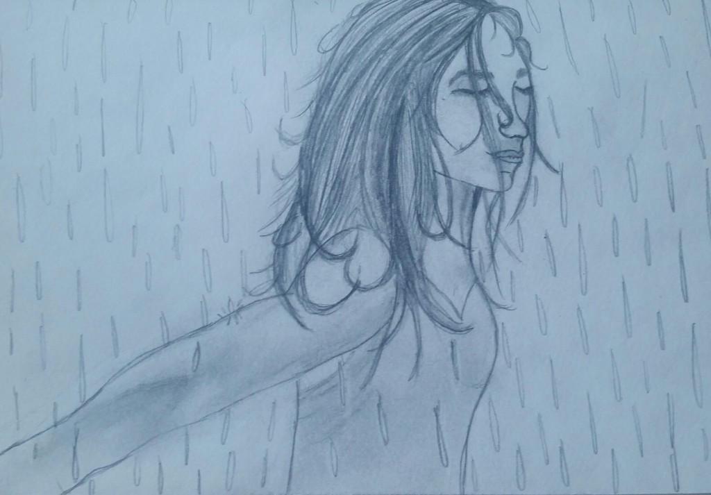 girl in the rain sketch