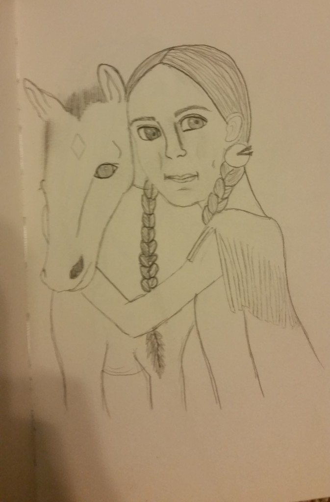 indian girl and horse sketch