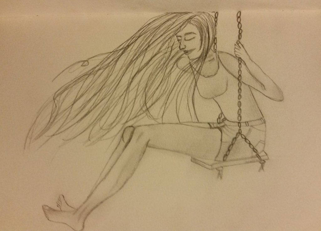 girl on swing sketch